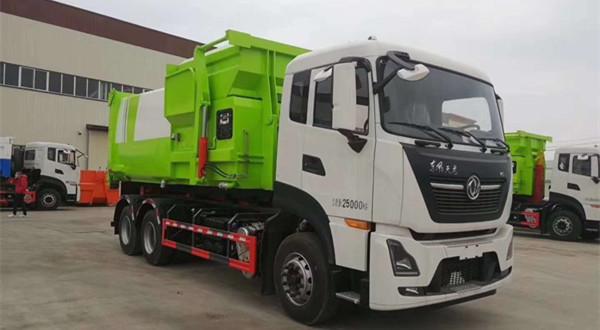 东风天龙25吨移动压缩箱勾臂垃圾车